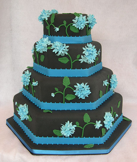 blue and black wedding cake by cakesuite serving connecticut and new york. Black Bedroom Furniture Sets. Home Design Ideas