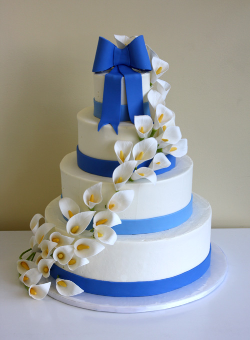 Wedding Cake With Calla Lily Cascade By CakeSuite Serving - Calla Lilly Wedding Cake