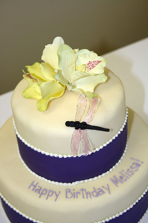 Birthday Cake with Dragonflies & Orchids by CakeSuite, serving ...